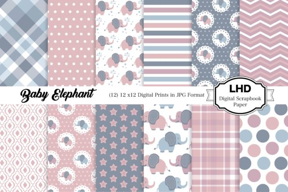 Baby Elephant Nursery Patterns - Pink Graphic Patterns By LeskaHamatyDesign