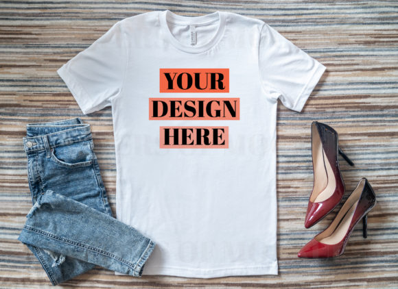 Bella Canvas T-Shirt Mockup with Heels Graphic Product Mockups By Masters of Mockups - Image 2