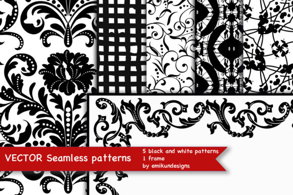Black and White Seamless Vector Patterns Graphic Patterns By emikundesigns