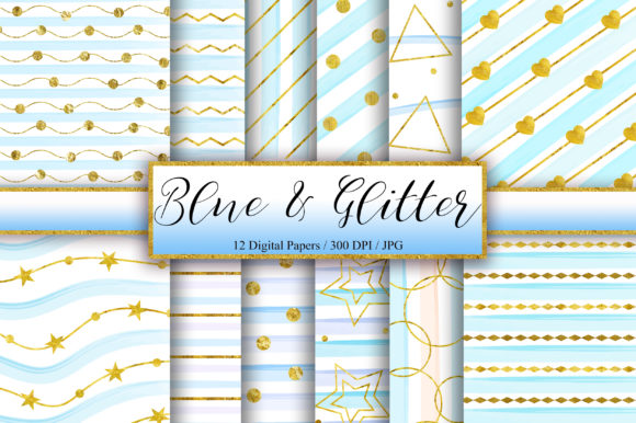 Blue Gold Glitter Background Graphic Backgrounds By PinkPearly