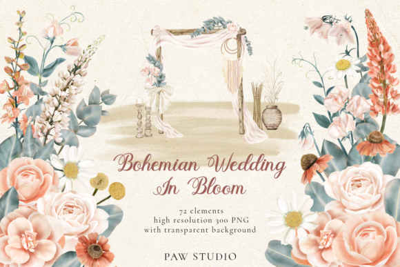 Print on Demand: Bohemian Wedding Flowers Leaves Clipart Grafik Illustrationen von PawStudio