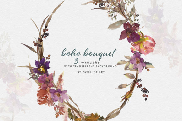 Boho Floral Frames and Wreaths Set Graphic Illustrations By Patishop Art