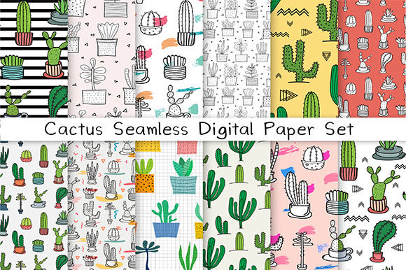 Cactus Seamless Digital Paper Set Graphic Patterns By OneyWhyStudio