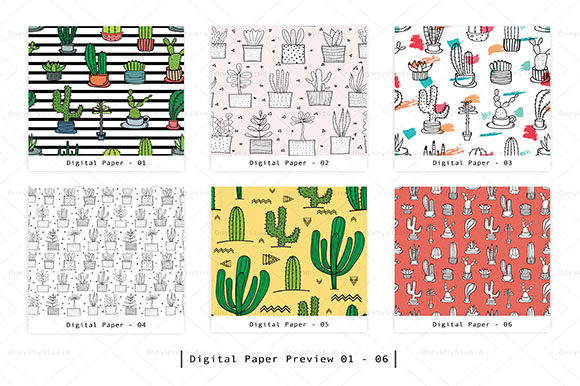 Download Free Cactus Seamless Digital Paper Set Graphic By Oneywhystudio for Cricut Explore, Silhouette and other cutting machines.