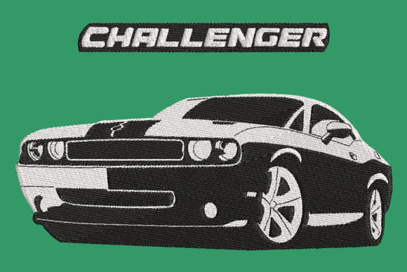 Print on Demand: Car Embroidery, Challenger B&W, 2 Sizes Transportation Embroidery Design By Embroidery Shelter