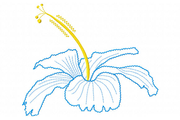 Print on Demand: Charming Hibiscus Single Flowers & Plants Embroidery Design By EmbArt