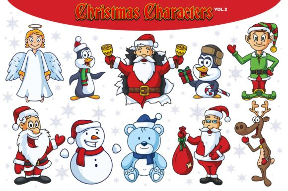 Download Free Christmas Vector Characters Vol 2 Graphic By Pixaroma Creative for Cricut Explore, Silhouette and other cutting machines.
