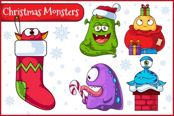 Christmas Vector Monsters Set 1 Graphic Illustrations By pixaroma
