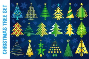 Christmas Vector Tree Set Graphic Illustrations By pixaroma