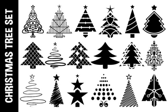 Download Free Christmas Vector Tree Set Graphic By Pixaroma Creative Fabrica for Cricut Explore, Silhouette and other cutting machines.