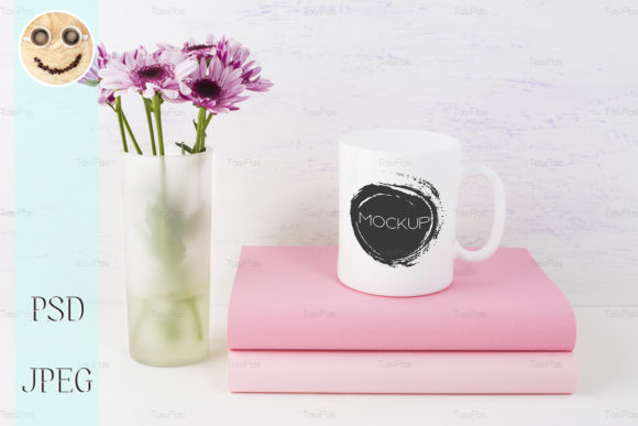 Print on Demand: Coffee Mug Mockup with Lilac Daisy Graphic Product Mockups By TasiPas - Image 2