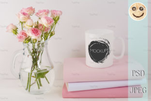 Print on Demand: Coffee Mug Mockup with Pink Roses Graphic Product Mockups By TasiPas