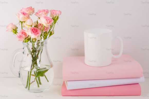 Download Free Coffee Mug Mockup With Pink Roses Graphic By Tasipas Creative for Cricut Explore, Silhouette and other cutting machines.