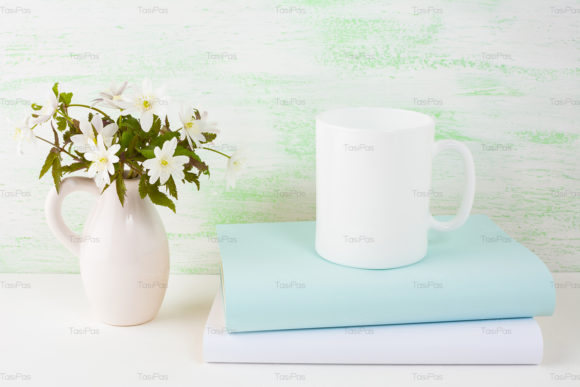 Print on Demand: Coffee Mug Mockup with Spring Flowers Graphic Product Mockups By TasiPas - Image 3