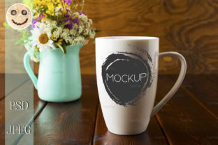 Print on Demand: Coffee Mug with Mint Green Flowerpot Graphic Product Mockups By TasiPas 1