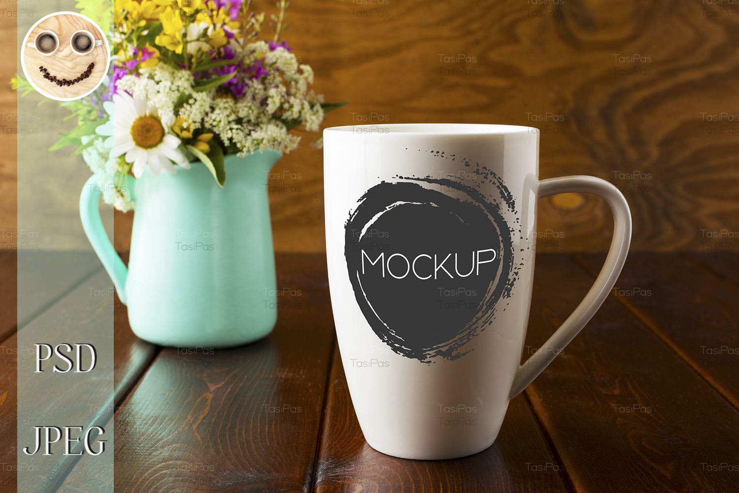 Download Free Coffee Mug With Mint Green Flowerpot Graphic By Tasipas for Cricut Explore, Silhouette and other cutting machines.