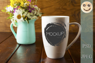 Print on Demand: Coffee Mug with Mint Green Flowerpot Graphic Product Mockups By TasiPas 2