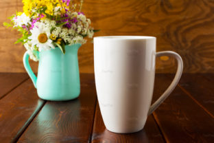 Print on Demand: Coffee Mug with Mint Green Flowerpot Graphic Product Mockups By TasiPas 3