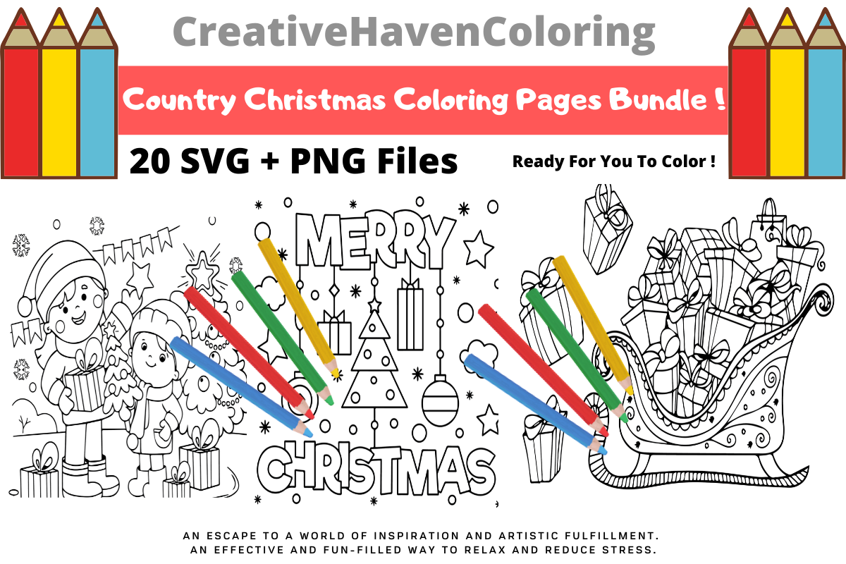 Download Free Country Christmas Coloring Pages Bundle Bundle Creative Fabrica for Cricut Explore, Silhouette and other cutting machines.