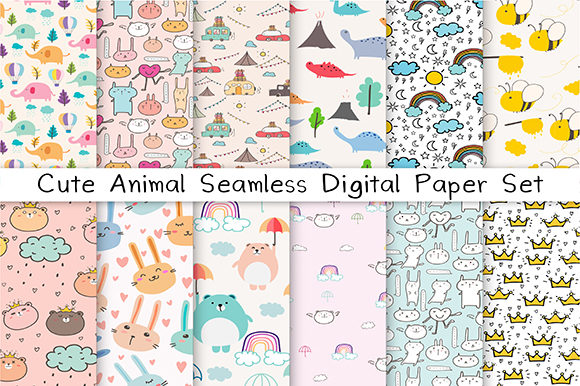 Cute Animal Seamless Digital Paper Set Graphic Patterns By OneyWhyStudio