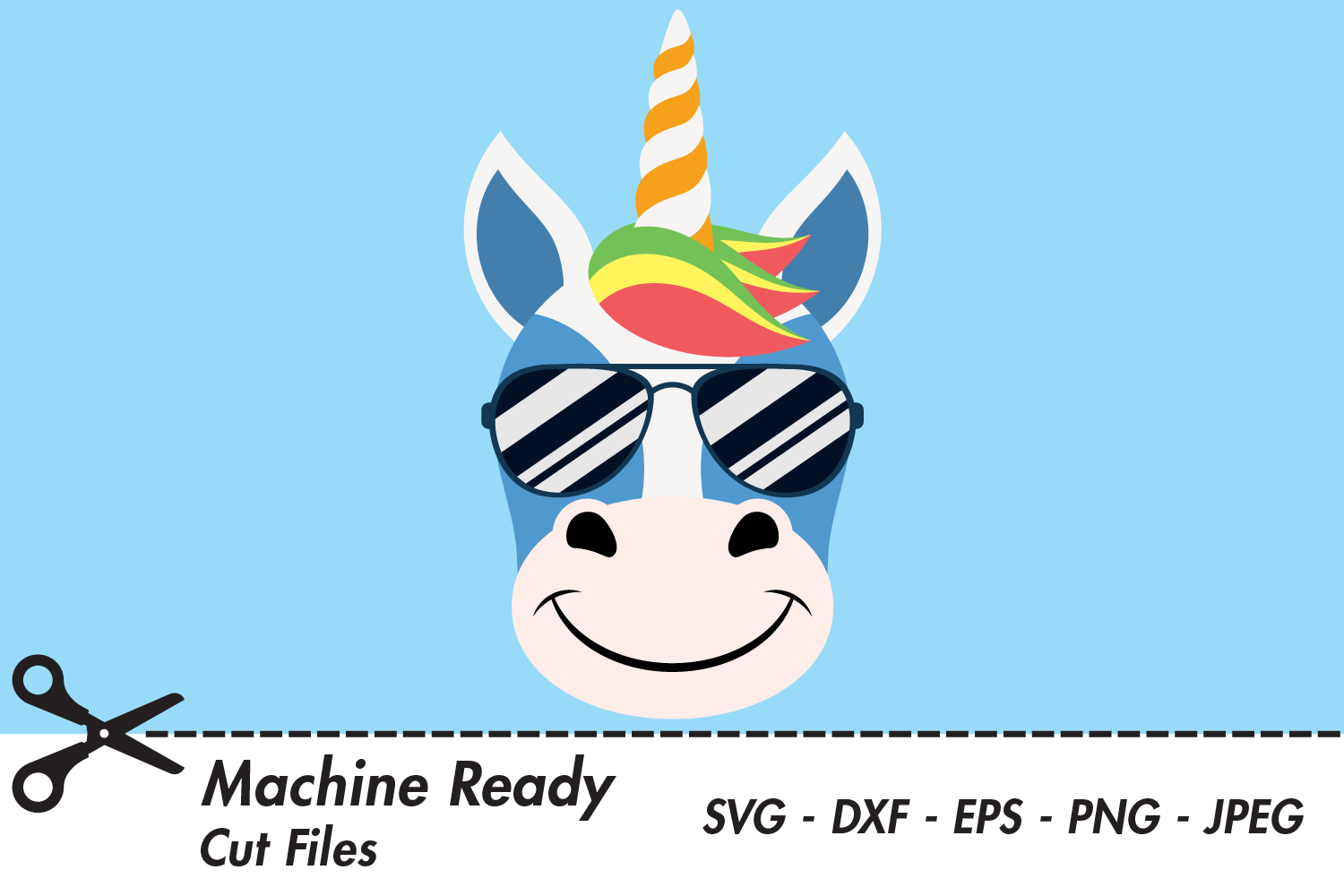 Download Free Cute Boy Unicorn Face With Shades Graphic By Captaincreative for Cricut Explore, Silhouette and other cutting machines.