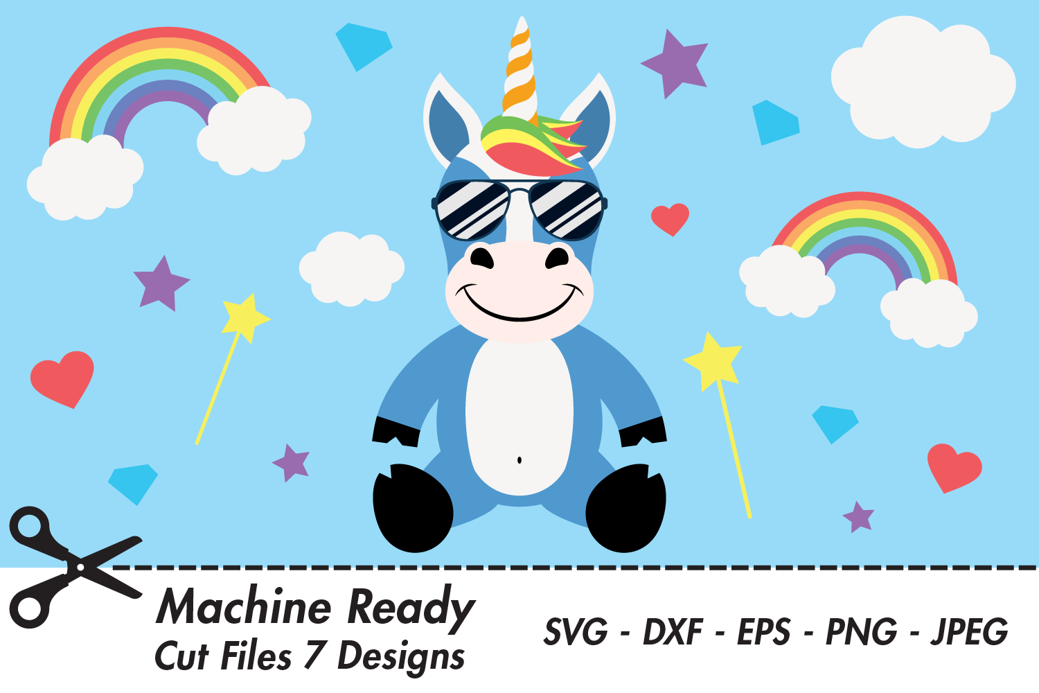Download Free Cute Boy Unicorn With Shades Graphic By Captaincreative for Cricut Explore, Silhouette and other cutting machines.