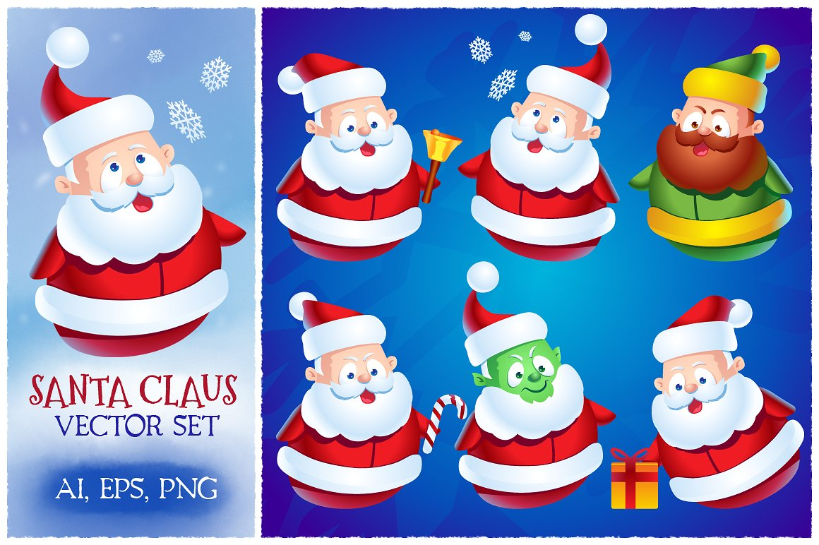 Download Free Cute Cartoon Santa Claus Set Graphic By Pixaroma Creative Fabrica for Cricut Explore, Silhouette and other cutting machines.