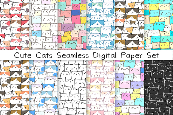 Download Free Cute Cat Seamless Digital Paper Set Graphic By Oneywhystudio for Cricut Explore, Silhouette and other cutting machines.