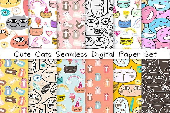 Cute Cat Seamless Digital Paper Set Graphic Patterns By OneyWhyStudio