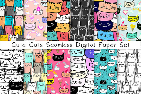 Cute Cat Seamless Digital Paper Set Grafik Muster von OneyWhyStudio