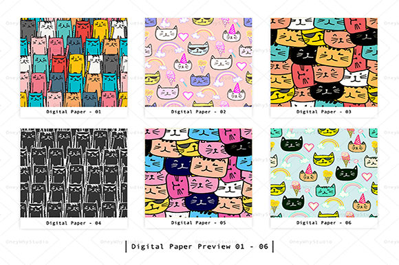 Cute Cat Seamless Digital Paper Set Graphic Patterns By OneyWhyStudio - Image 2