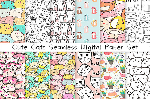 Cute Cat Seamless Digital Paper Set Graphic Patterns By OneyWhyStudio - Image 1
