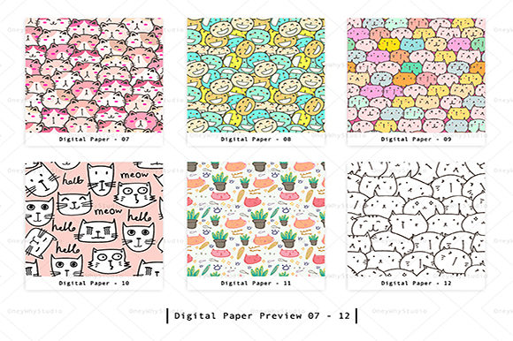 Cute Cat Seamless Digital Paper Set Graphic Patterns By OneyWhyStudio - Image 3