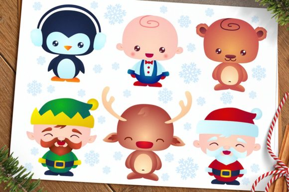 Cute Christmas Baby Characters Graphic Illustrations By pixaroma