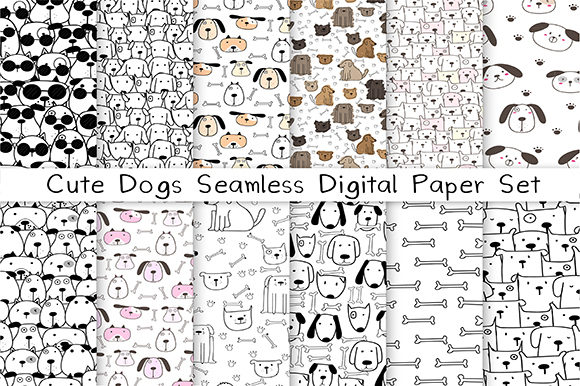 Cute Dog Seamless Digital Paper Set Graphic Patterns By OneyWhyStudio