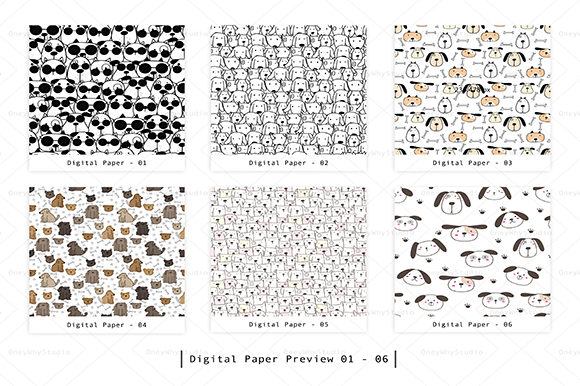 Cute Dog Seamless Digital Paper Set Graphic Patterns By OneyWhyStudio - Image 2