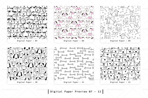 Cute Dog Seamless Digital Paper Set Graphic Patterns By OneyWhyStudio - Image 3
