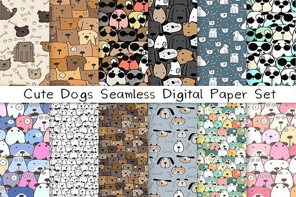 Cute Dog Seamless Digital Paper Set Gráfico Moldes Por OneyWhyStudio