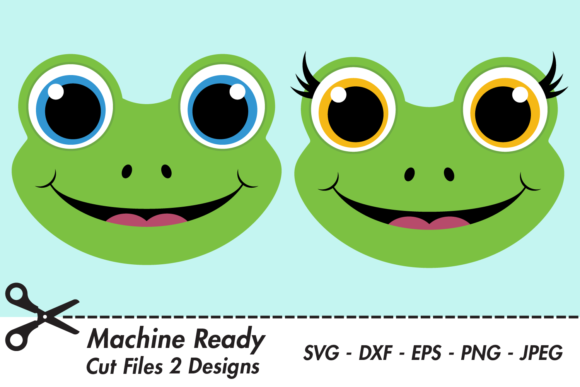 Download Free Cute Frog Faces Graphic By Captaincreative Creative Fabrica for Cricut Explore, Silhouette and other cutting machines.