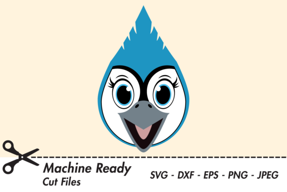 Download Free Cute Girl Blue Jay Face Graphic By Captaincreative Creative for Cricut Explore, Silhouette and other cutting machines.