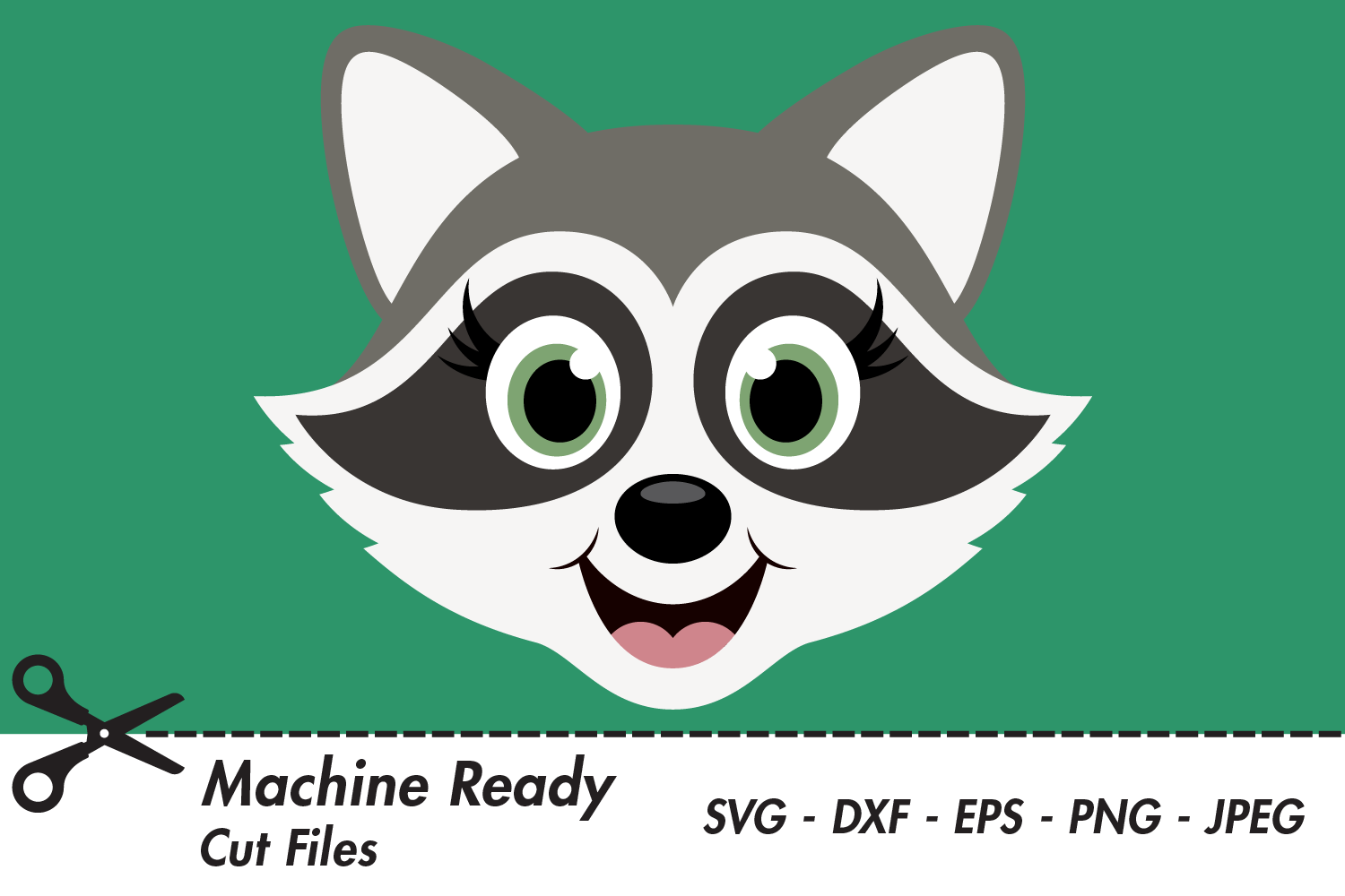 Download Free Cute Girl Raccoon Face Graphic By Captaincreative Creative Fabrica for Cricut Explore, Silhouette and other cutting machines.