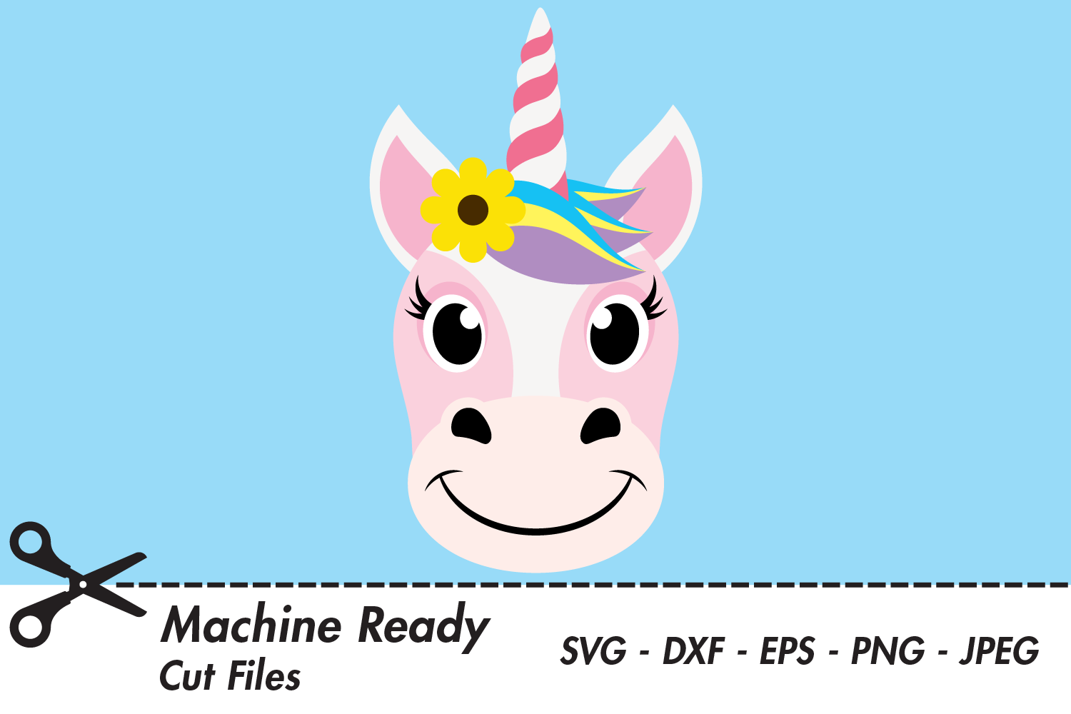 Download Free Cute Girl Unicorn Face Graphic By Captaincreative Creative Fabrica for Cricut Explore, Silhouette and other cutting machines.