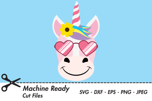 Download Free Cute Girl Unicorn Face With Shades Graphic By Captaincreative for Cricut Explore, Silhouette and other cutting machines.