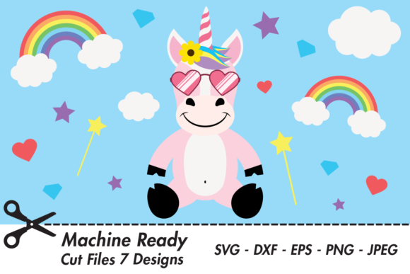 Download Free Cute Girl Unicorn With Shades Graphic By Captaincreative for Cricut Explore, Silhouette and other cutting machines.