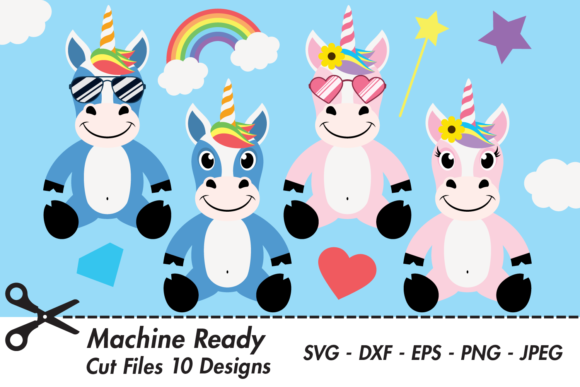 Download Free Cute Magical Unicorn Bundle Graphic By Captaincreative for Cricut Explore, Silhouette and other cutting machines.
