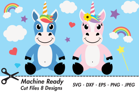 Download Free Cute Magical Unicorns Graphic By Captaincreative Creative Fabrica for Cricut Explore, Silhouette and other cutting machines.