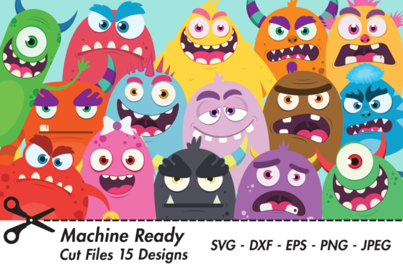 Download Free Cute Monster Party Designs Bundle Graphic By Captaincreative for Cricut Explore, Silhouette and other cutting machines.