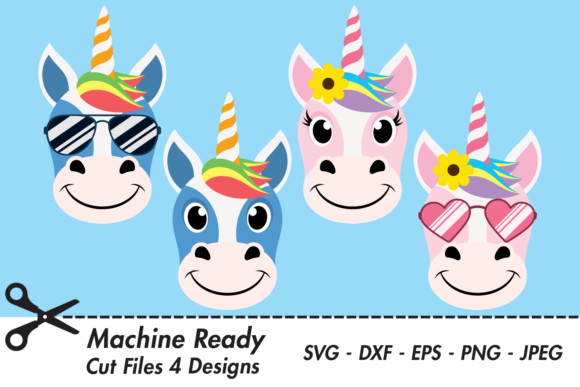 Download Free Cute Unicorn Faces With Shades Graphic By Captaincreative for Cricut Explore, Silhouette and other cutting machines.