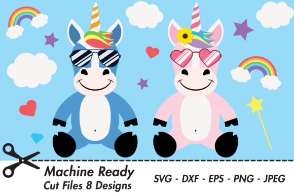 Download Free Cute Unicorns With Shades Graphic By Captaincreative Creative Fabrica for Cricut Explore, Silhouette and other cutting machines.