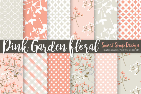 Digital Paper Pink Garden Floral Graphic Patterns By Sweet Shop Design